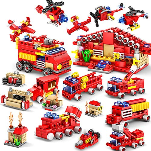 BOROLA 16 in 1 Urban Fire Truck Model Building Blocks Compatible with Most Major Brands of Building Bricks Educational Toys Gift for Kids