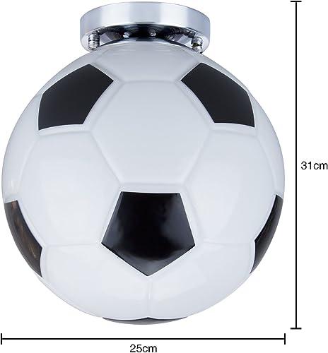 Modern Ball Ceiling Light – Creative Soccer Glass Pendant Lighting Minimalist Semi Flush Mounted Football Island Light Fixture 9.8 Dia for Kids Room Boys Girls Room Children s Room