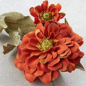 Factory Direct Craft Group of 10 Artificial Rustic Orange Colored Zinnia Floral Sprays for Crafting, Creating and Embellishing 4
