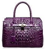 PIJUSHI Women's Handbags Crocodile Top Handle Satchel Bags Designer Padlock Handbags For Women(P10103 Crocodile Violet)