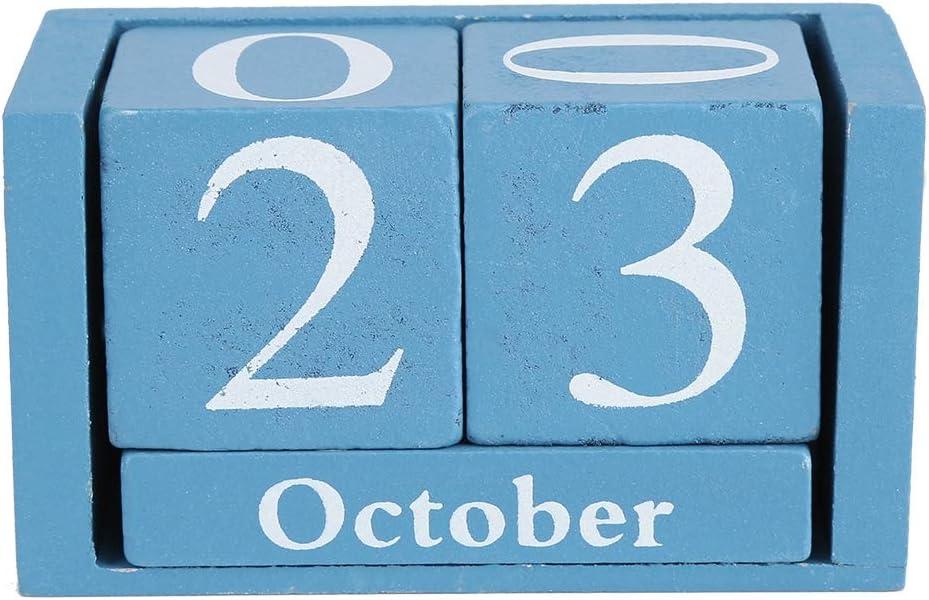 Calendario in legno calendario in legno vintage Calendario da tavolo in legno Mese Data Display Orologio da ufficio Decorazione sveglia Orologio Calendario in legno blu