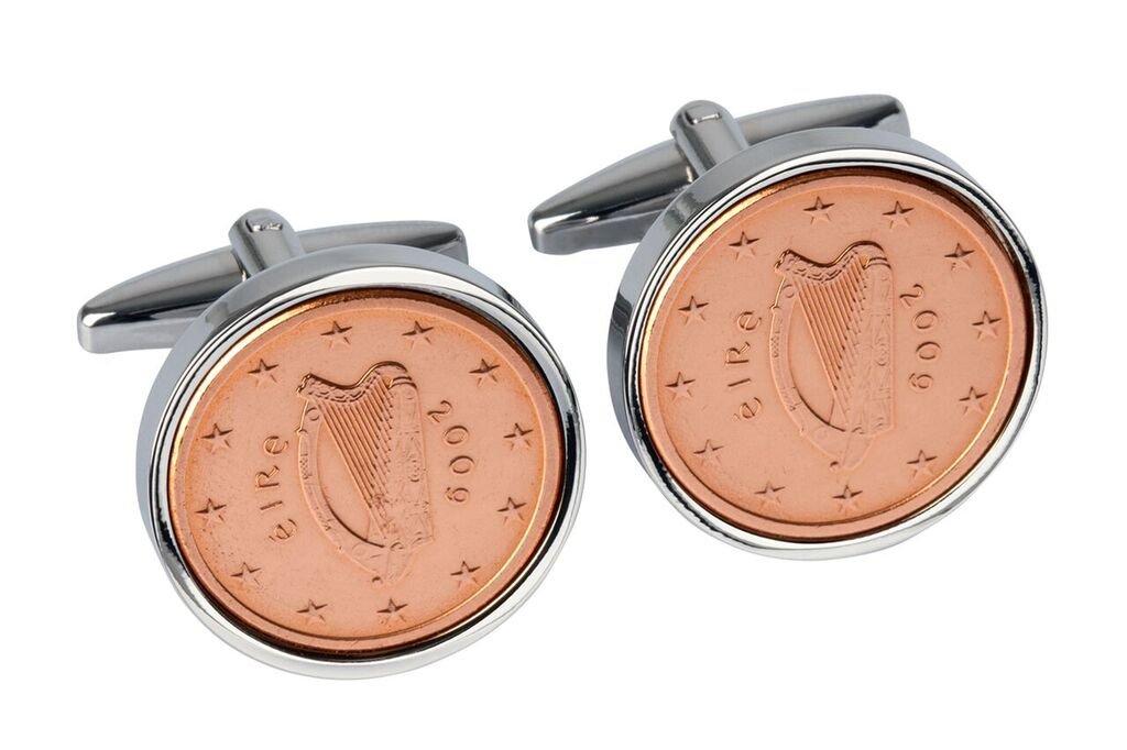 9th Wedding Anniversary for Men- 2009 Copper Coins- Irish Lucky 2009 Cufflinks
