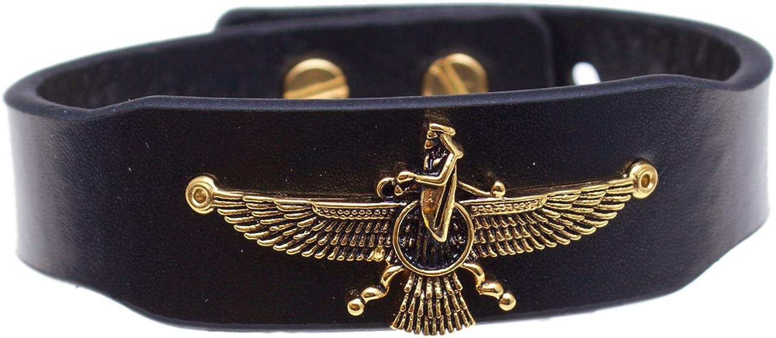 Unisex Persian Zoroastrian Farvahar Farohar Leather Bracelet Persia Gift Art