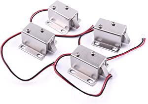Atoplee 4pcs Mini Door Drawer Tongue Down Electric Lock Assembly Solenoid DC 12V Slim Design Lock,27X29X18mm
