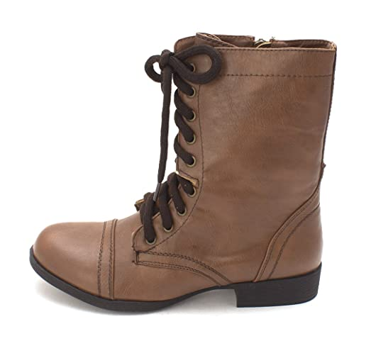 Just Fab Womens Breann Closed Toe Mid-Calf Combat Boots