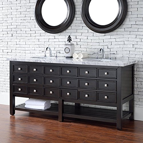 72 in. Double Vanity with Carrara Marble Top 60%OFF