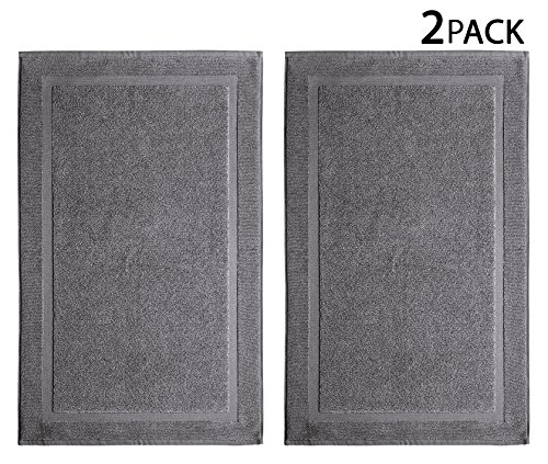 Cotton Craft - 2 Pack Bath Mat - Charcoal - 100% Ringspun Cotton Tub Mat 21x34 - Oversized 21x34 Heavy Weight 1000 Grams - 2 Ply Construction - Highly Absorbent - Soft Underfoot - Easy Care Machine Wash (Bathroom Towels And Rugs)