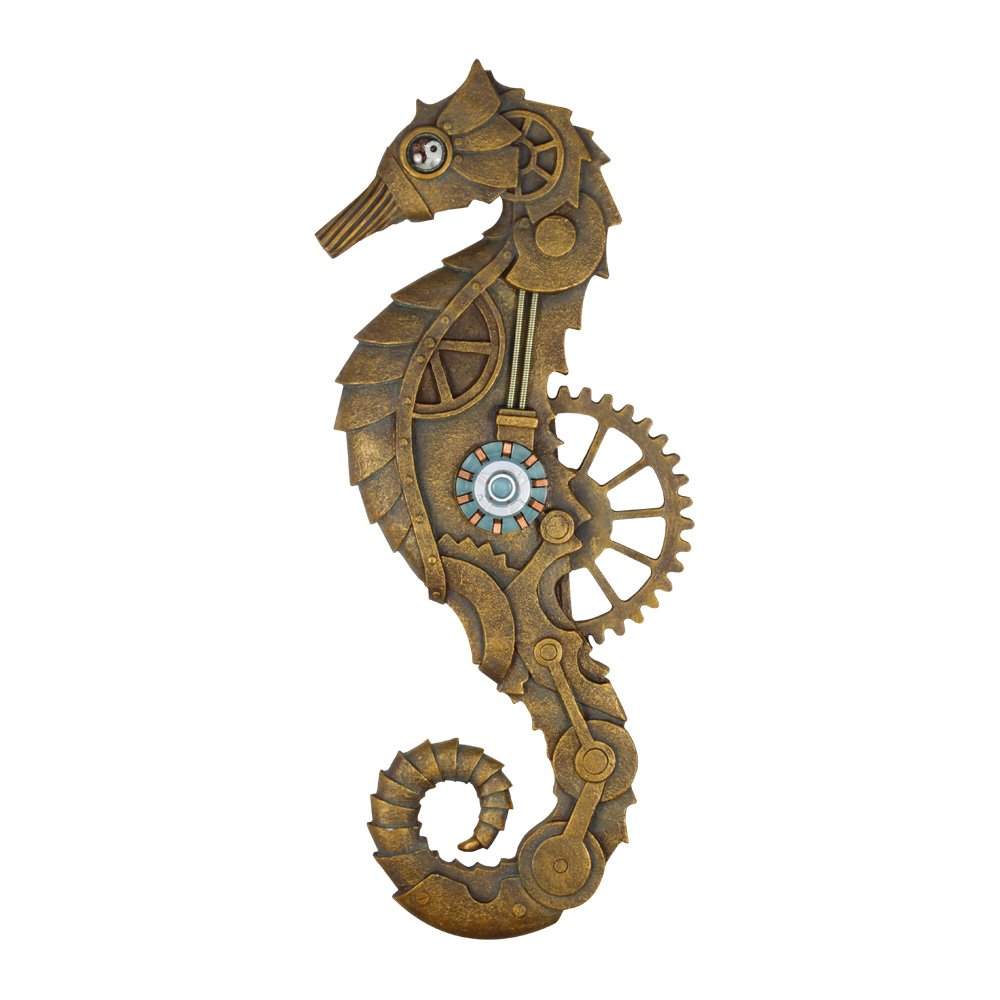 Steampunk Seahorse Decor Wall Plaque Hand Painted Decorative Arts 22 Inches by Bingo Castle