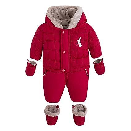 Bebé Traje de Nieve con Guantes Botines Fleece Peleles con Capucha Conjunto de Ropa Invierno Mameluco