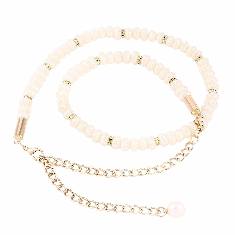 Damara Damen Schöne Sommerkleid Accessory Faux Pearl Kettengürtel
