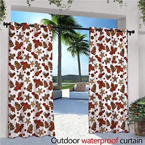 cobeDecor Christmas Indoor/Outdoor Single Panel Print Window Curtain Holly Berries Gingerbread Man Cookies Cartoon Style Winter Season Holiday Silver Grommet Top Drape W72 x L96 Redwood Red Brown