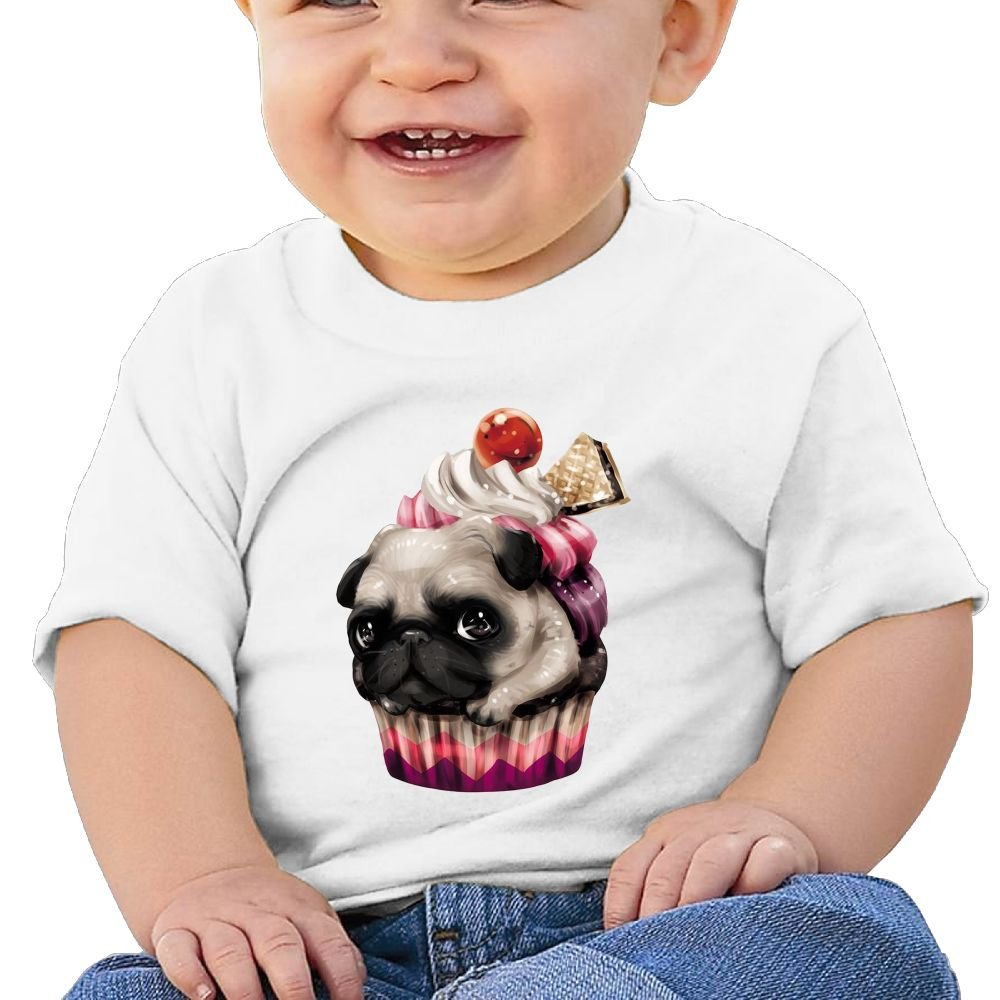REBELN Pug Cup Cake Cotton Short Sleeve T Shirts for Baby Toddler Infant