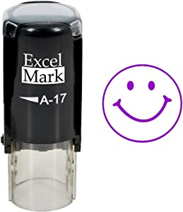 Smiley FACE - ExcelMark Self-Inking Round Teacher Stamp - Purple Ink