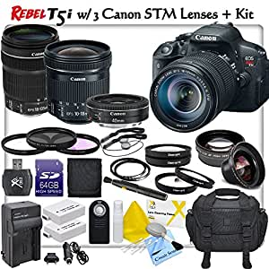 Canon Rebel T5i Digital SLR Camera with Canon EF-S 18-135mm f/3.5-5.6 IS STM Lens + Canon EF-S 10-18mm f/4.5-5.6 IS STM Lens + Canon EF 40mm f/2.8 STM Lens & CS Pro Lens Kit: Includes 2x Canon LPE8 Replacement Batteries, Rapid Travel Charger, 64GB SDXC Memory Card, Card Reader, Deluxe Camera Case, High Definition Wide Angle Lens, 2x Telephoto HD Lens, 3 Piece Professional Filter Kit, 4 Piece Macro Close-Up Kit, High Resolution UV Filter, Wireless Remote, SD Card Wallet, 2 Lens Cap Keepers, Lens Pen, Brush Blower, Cleaning Solution, Cotton Swabs & CS Microfiber Cleaning Cloth