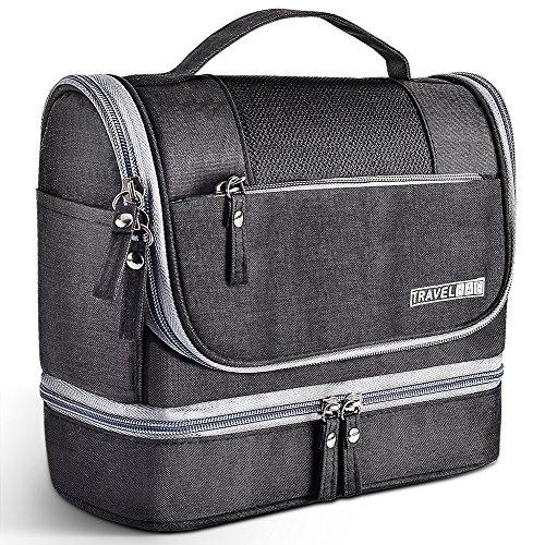 Toiletry Bag Hanging Travel Toiletry Organizer Kit with Hook and Handle Waterproof Cosmetic Bag Dop Kit for Men or Women (Black)