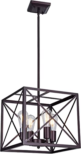 MELUCEE Industrial Rustic Chandelier Lamp 4-Light Farmhouse Pendant Light Oil Rubbed Bronze Finish