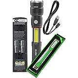 Nebo Slyde King 330 Lumen USB rechargeable LED flashlight/Worklight 6434 , rechargeable Li-ion battery with EdisonBright USB powered reading light bundle