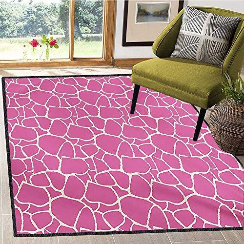Hot Pink, Area Rug Kids Girl, Abstract Giraffe Skin Pattern Vivid Color Exotic Animal Camouflage Safari Jungle, Children Kids Nursery Rugs Floor Carpet 4x5 Ft Pink White
