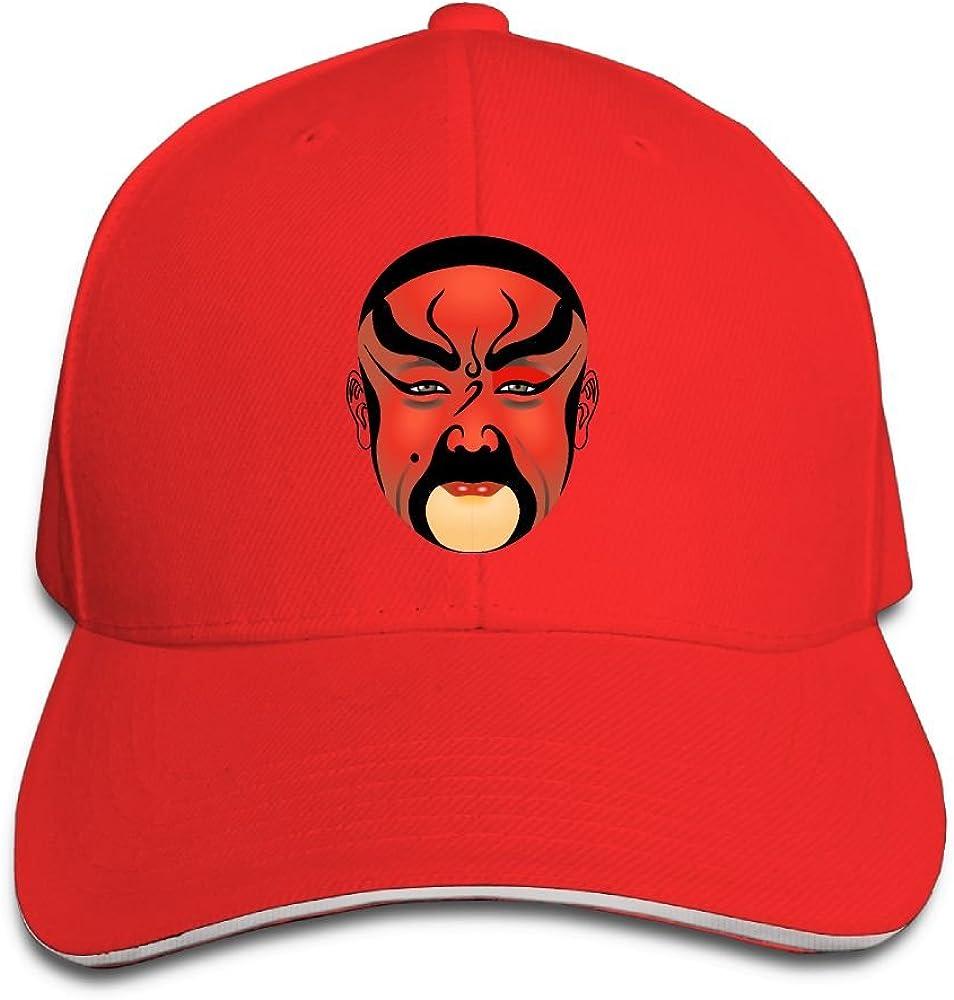 Teesofun Unisex Sandwich Peaked Cap Red Beijing Opera Mask Adjustable Cotton Baseball Caps