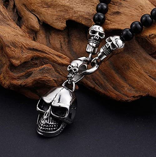 Metal Color: Skull 47cm Punk Rock Titanium Stainless Steel Skull Necklaces /& Pendants 47CM Long Black Non-Mainstream Necklace Jewelry for Men Women