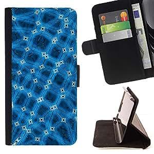 For Sony Xperia Z1 L39 Case , Conexión abstracto azul frío- la tarjeta de Crédito Slots PU Funda de cuero Monedero caso cubierta de piel