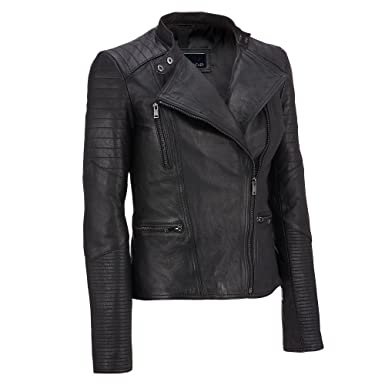 Wilsons Leather Womens Asymmetric Lamb Moto Jacket W/Quilting Details XS  Black
