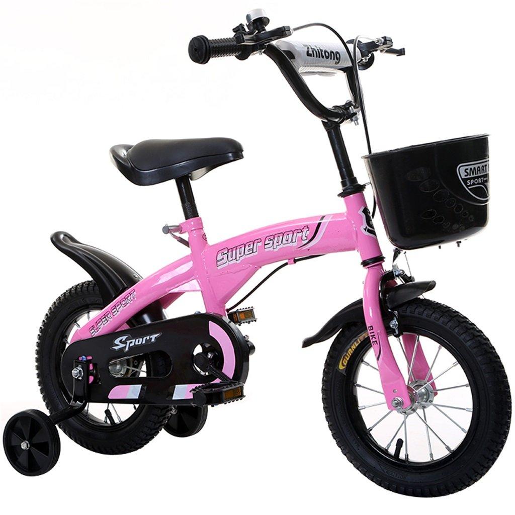 子供の自転車12|14|16|18インチ屋外の子供赤ちゃんキッドマウンテンバイク黒のトレーニングホイールで3-9歳の男の子の女の子のギフト|プラスチックバスケットセーフピンク B078GP6GMH 16 inches