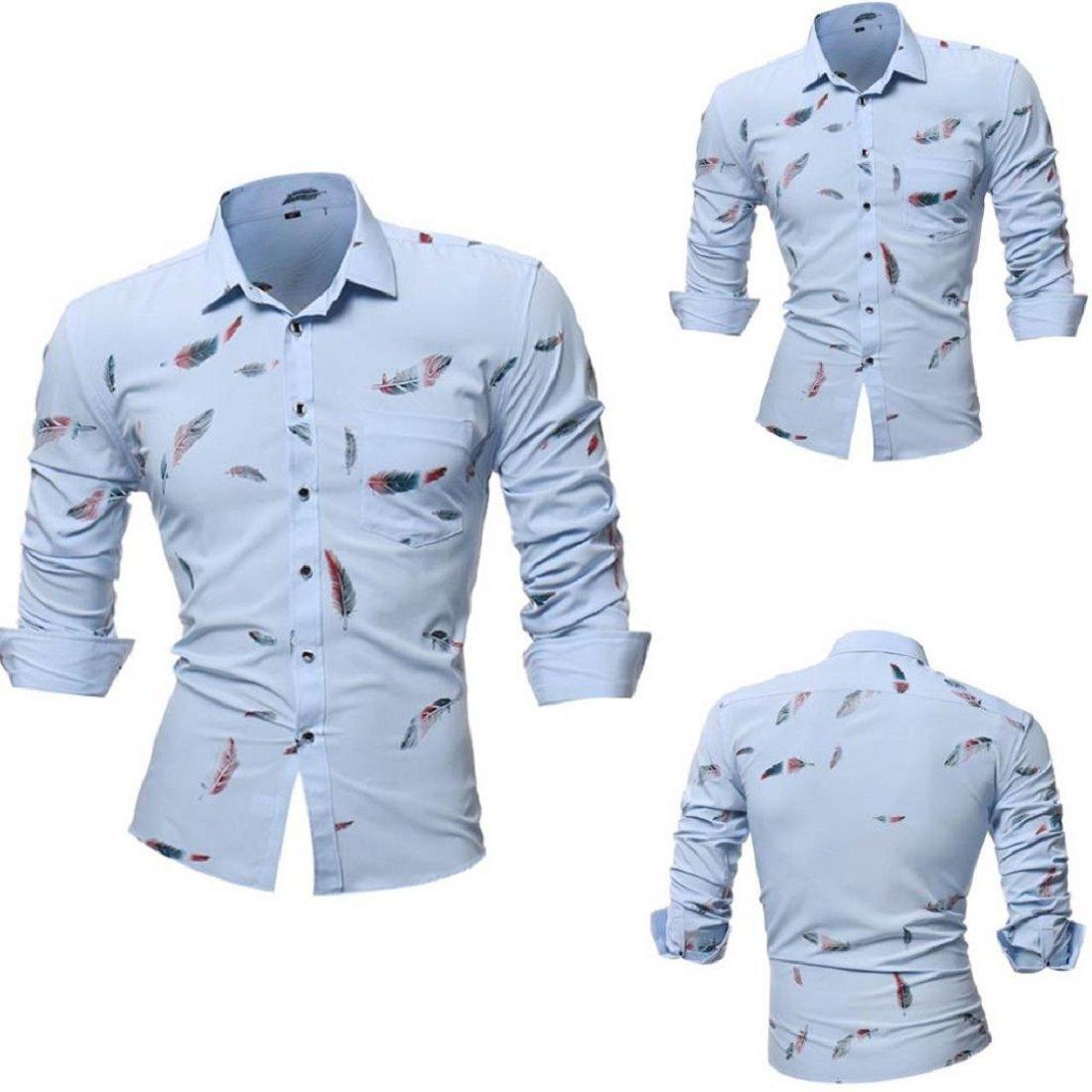 efd2352fcb6e Men's Stylish Long Sleeve Printed Dress Shirts Slim Fit Tops Basic Shirt  Blouse XWJ520 larger image