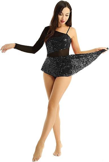 iiniim Vestido Asimétrico de Danza Patinaje Artistico para Mujer ...