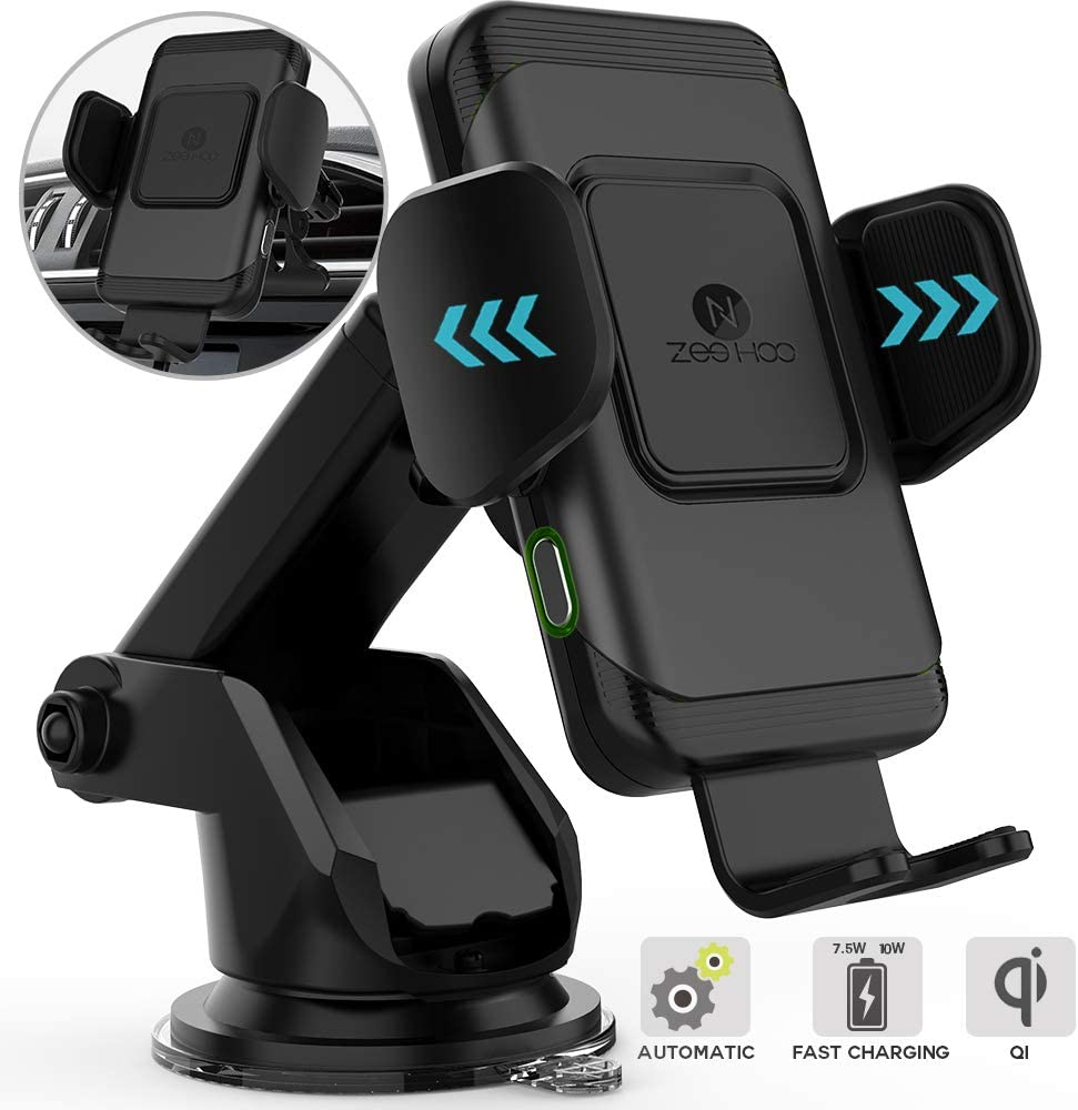 ZeeHoo Auto-Clamping 10W Qi Fast Wireless Car Charger Mount