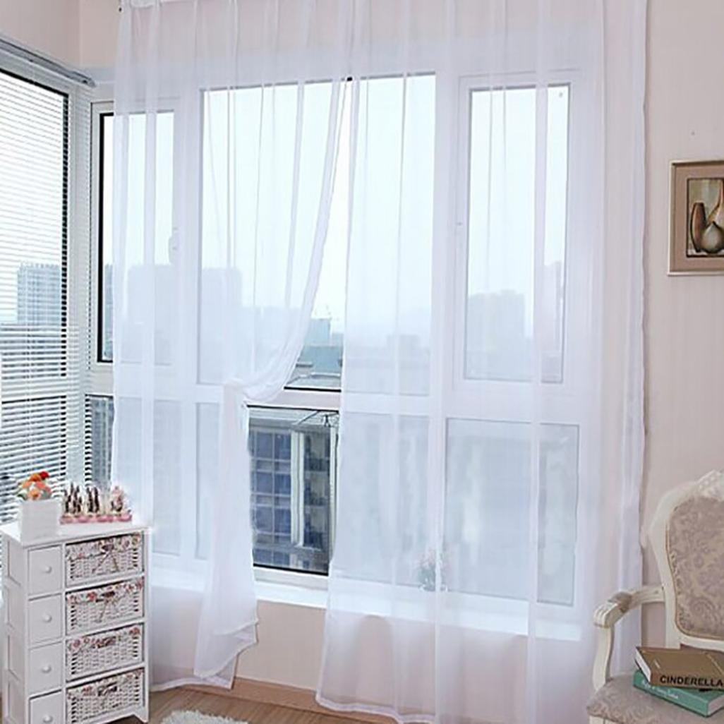 Mysky 1 PCS Pure Color Tulle Door Window Curtain Drape Panel Sheer Scarf Valances (White)