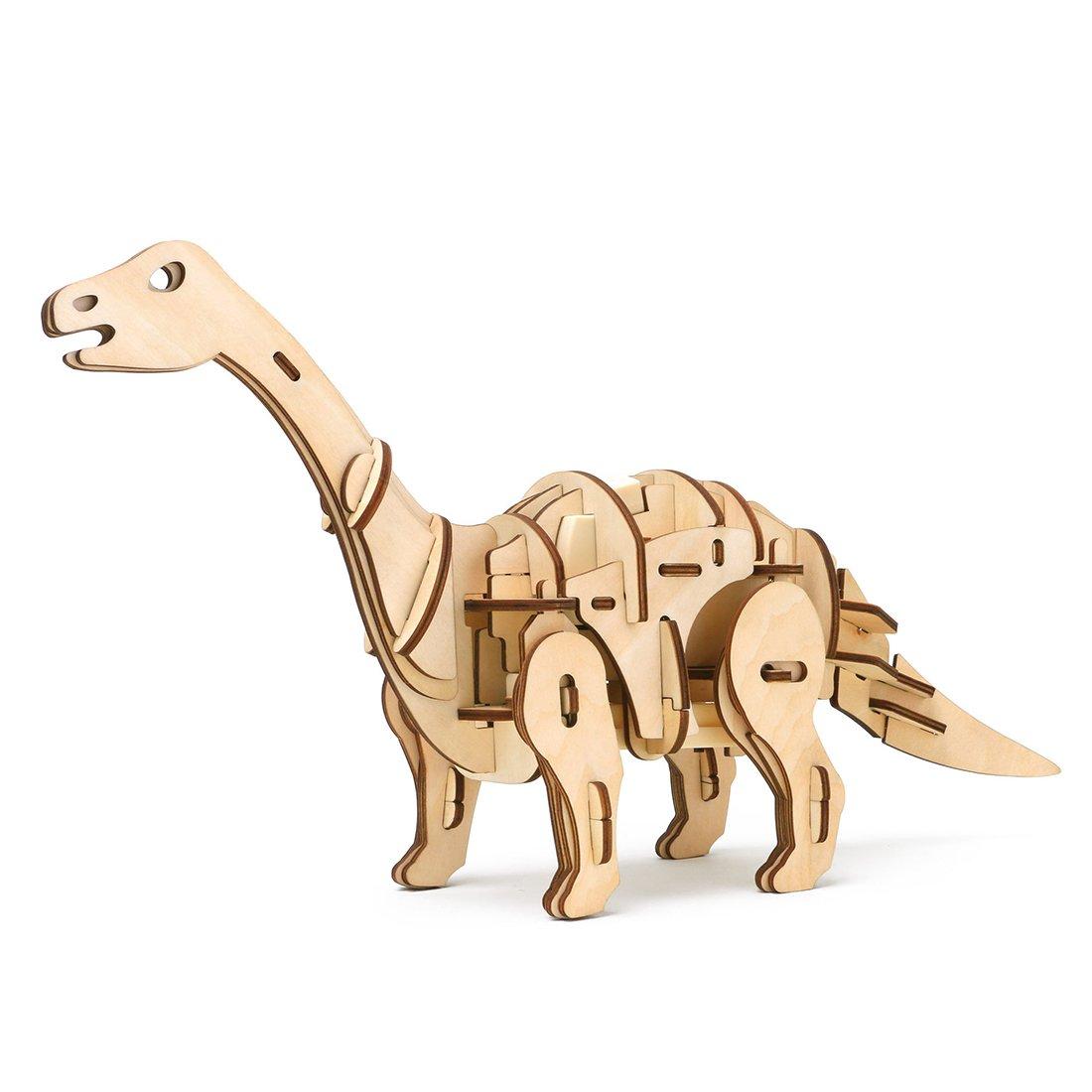 KEHUASHINA DIY Holzspielzeug Sound und Lichtsteuerung T-Rex Dinosaurier Apatosaurus 3D Puzzle Beste Geburtstagsgeschenke für Kinder