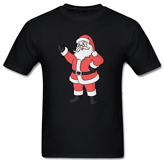 colored drawing santa claus fashion mens round neck tee shirt