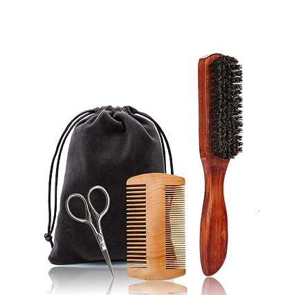 3 Set Barba Aseo Y Recorte Kit Para Los Hombres-Bigote Y Barba Peine,