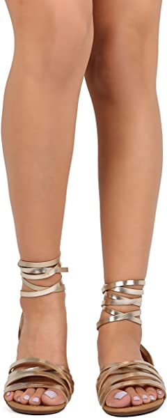 2ad6364286 Breckelle's Women Metallic Open Toe Strappy Slingback Wrap Sandal EA53 -  Champagne (Size: 7.0