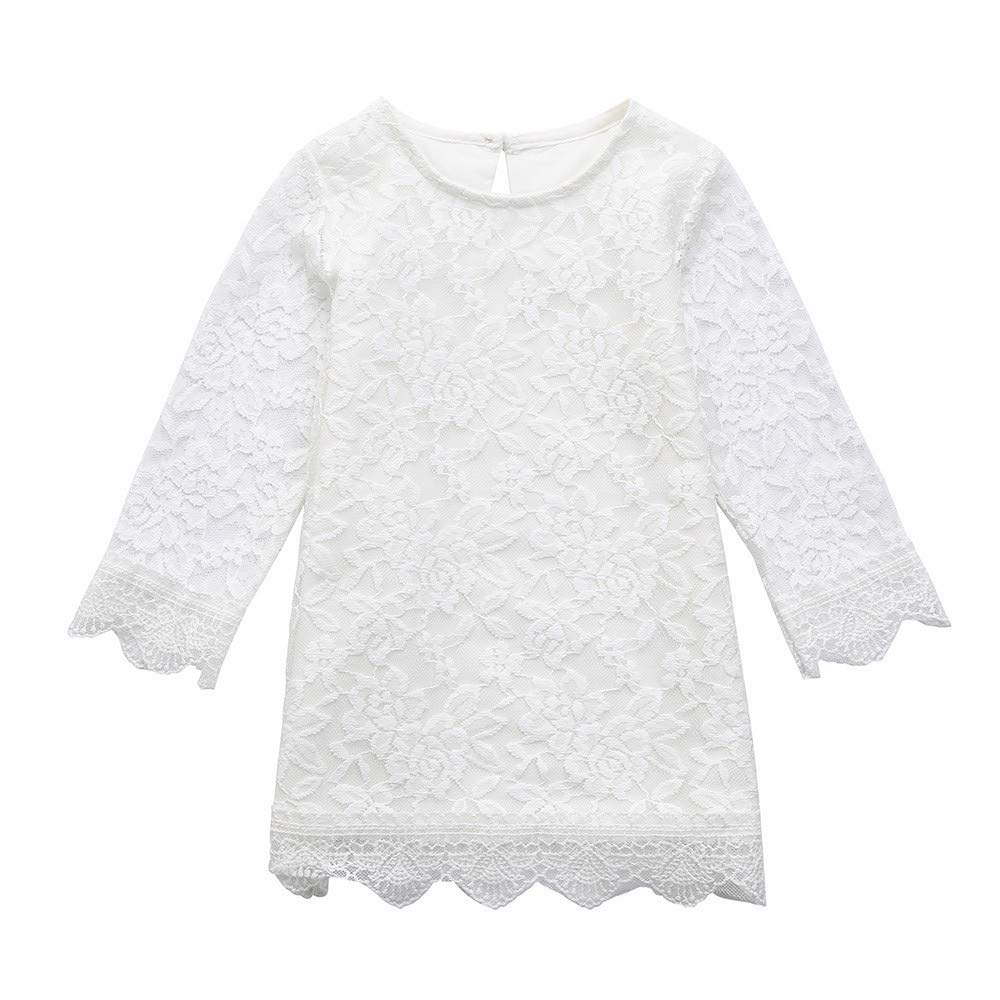 Opeer Toddler Kids Baby Girls Long Sleeve Lace Princess Sundress Formal Dress Outfits