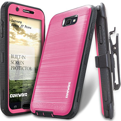 Samsung Galaxy J7 2017/ J7 Prime/J7 Sky Pro/J7 Perx/J7 V 2017 Case, COVRWARE [Iron Tank] Built-in [Screen Protector] Full-Body Rugged Holster Armor [Brushed Metal Texture][Belt Clip][Kickstand], Pink