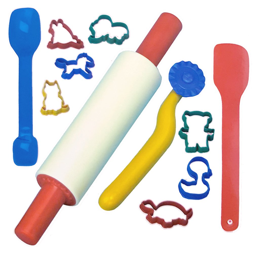LADO 16pc Baking Set Rolling Pin Shape Cutters Kitchen Play Set For Children Kids