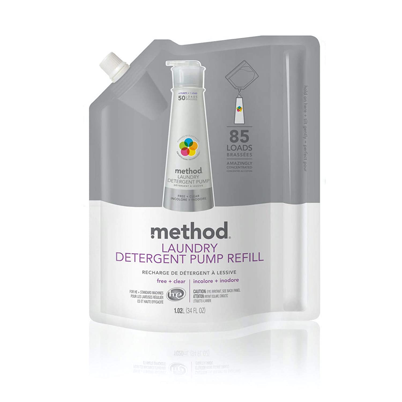 Method Laundry Detergent Refill for Pump Bottles, Free + Clear, 34 Fl Oz, 85 Loads