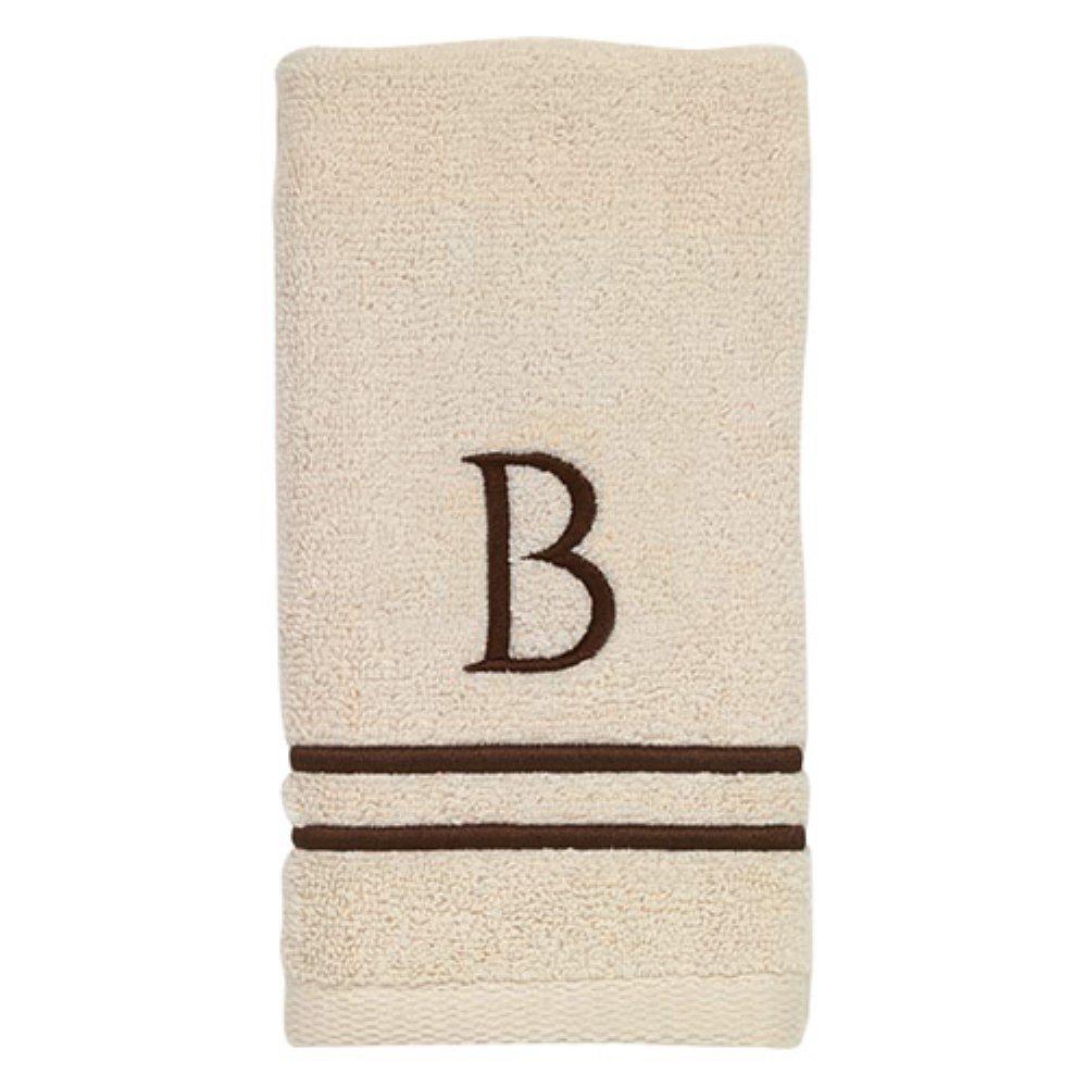 Avanti Linens 050876B Block Monogram Bath/Hand and Fingertip Towel Kit, Medium, Ivory/Mocha