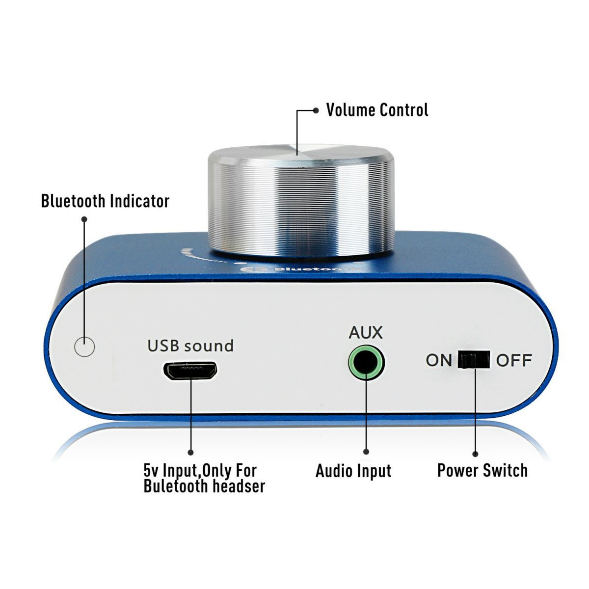 2 Dos Canales Mini est/éreo de Audio inal/ámbrico Bluetooth Amplificador de Se/ñal Digital Power Amp para Tablet PC Port/átiles Smartphone ect DollaTek TPA3110 30W Azul