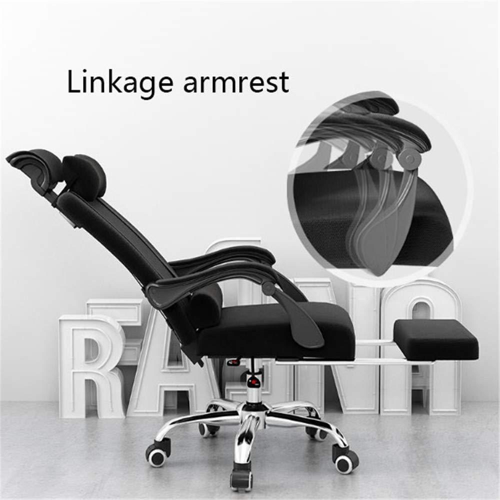 ZMXZMQ spelstol, justerbar justerbar svängbar uppgift stol med andningsbart nät, tjock sittkudde, justerbart armstöd, ryggstöd, nackstöd och fotstöd, mörkgrå Mörkgrått
