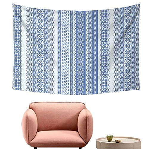 (Agoza Wall Tapestry for Bedroom Nordic Vertical Geometric Pattern Embroidery Pattern Scandinavian Chevron Lines Flowers Living Room Background Decorative Painting 80
