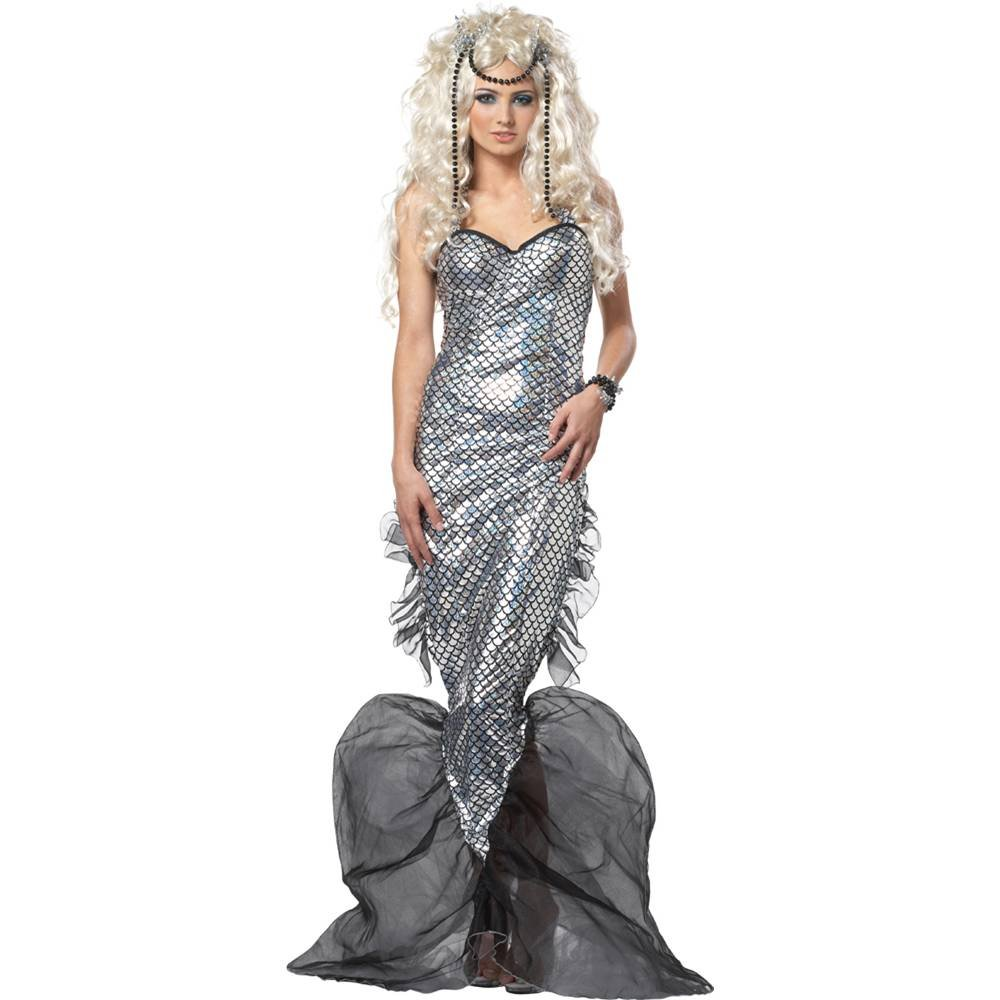 Women's Mystic Mermaid Silver and Black Costume Dress - DeluxeAdultCostumes.com