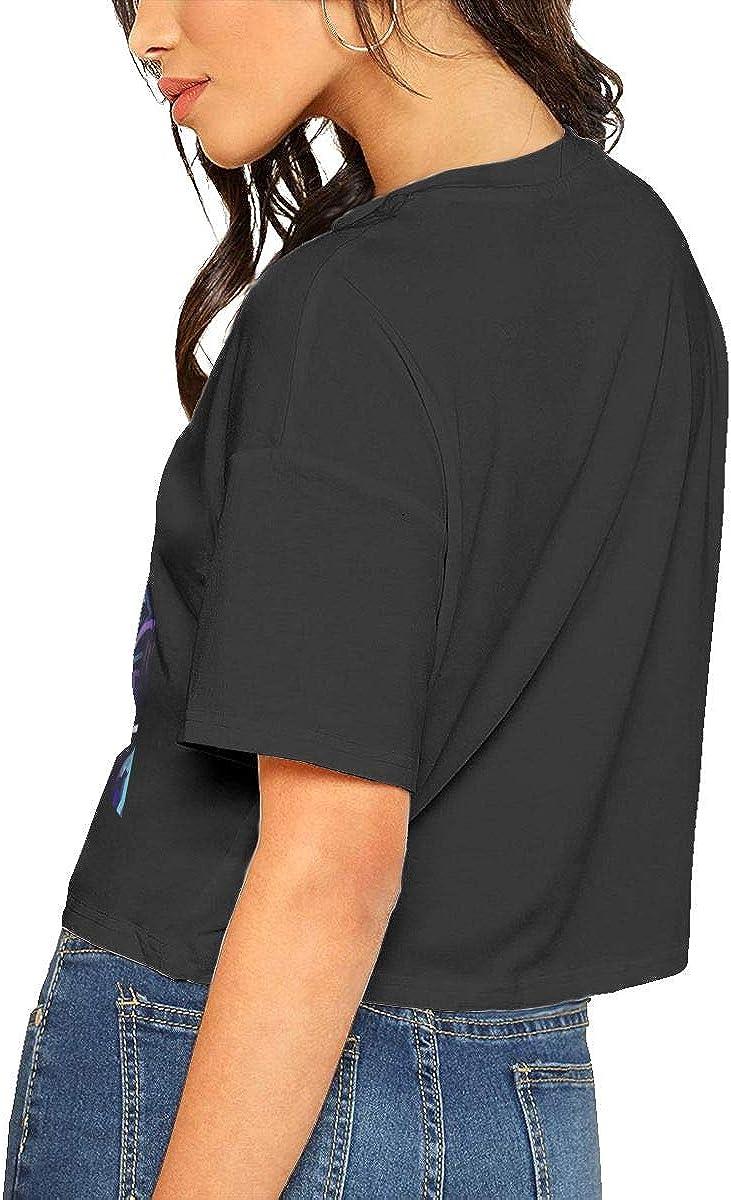 Chouven Womens Crop Top Daft Punk Logo Round Neck Short Sleeve T Shirts