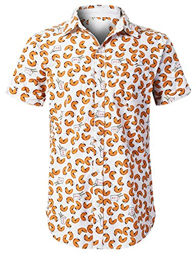 URBANCREWS Mens Hipster Hip Hop Fortune Cookie Graphic Button up Shirt TAN, (White Fortune Cookies)