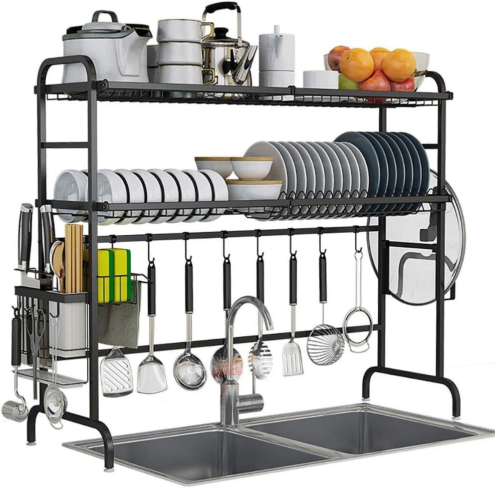 コンパクトなディッシュラック、2層ステンレス製水切りディスプレイシェルフ、カウンタートップスペースセーバー食器オーガナイザー、調理器具ホルダー付き、ブラック