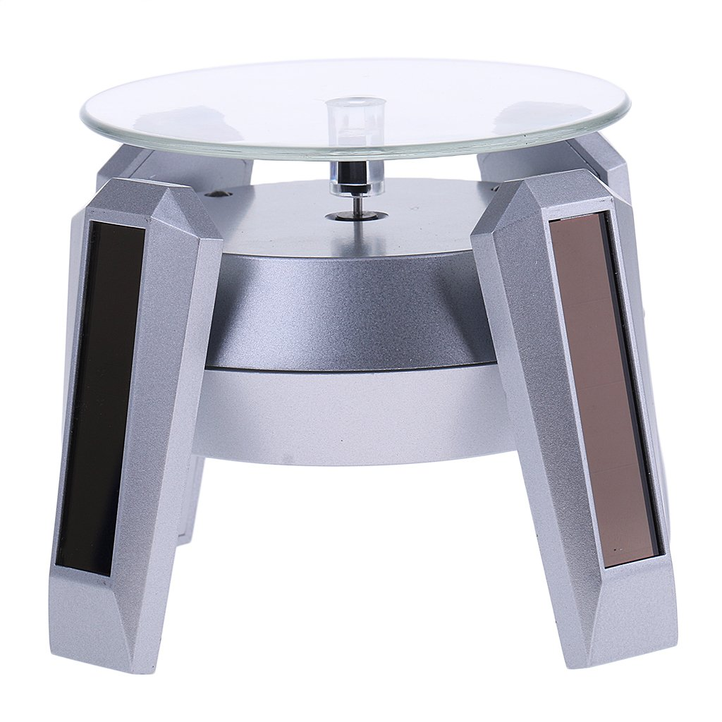 Jili Online Solar/Battery Showcase LED 360 Rotating Jewelry Watch Lipstick Display Stand - Silver Base & Blue Light, as described