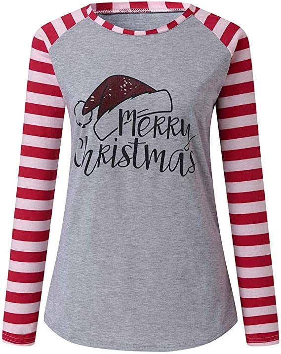 Merry Christmas Baseball T-Shirt for Womens Cute Santas Hat Splicing