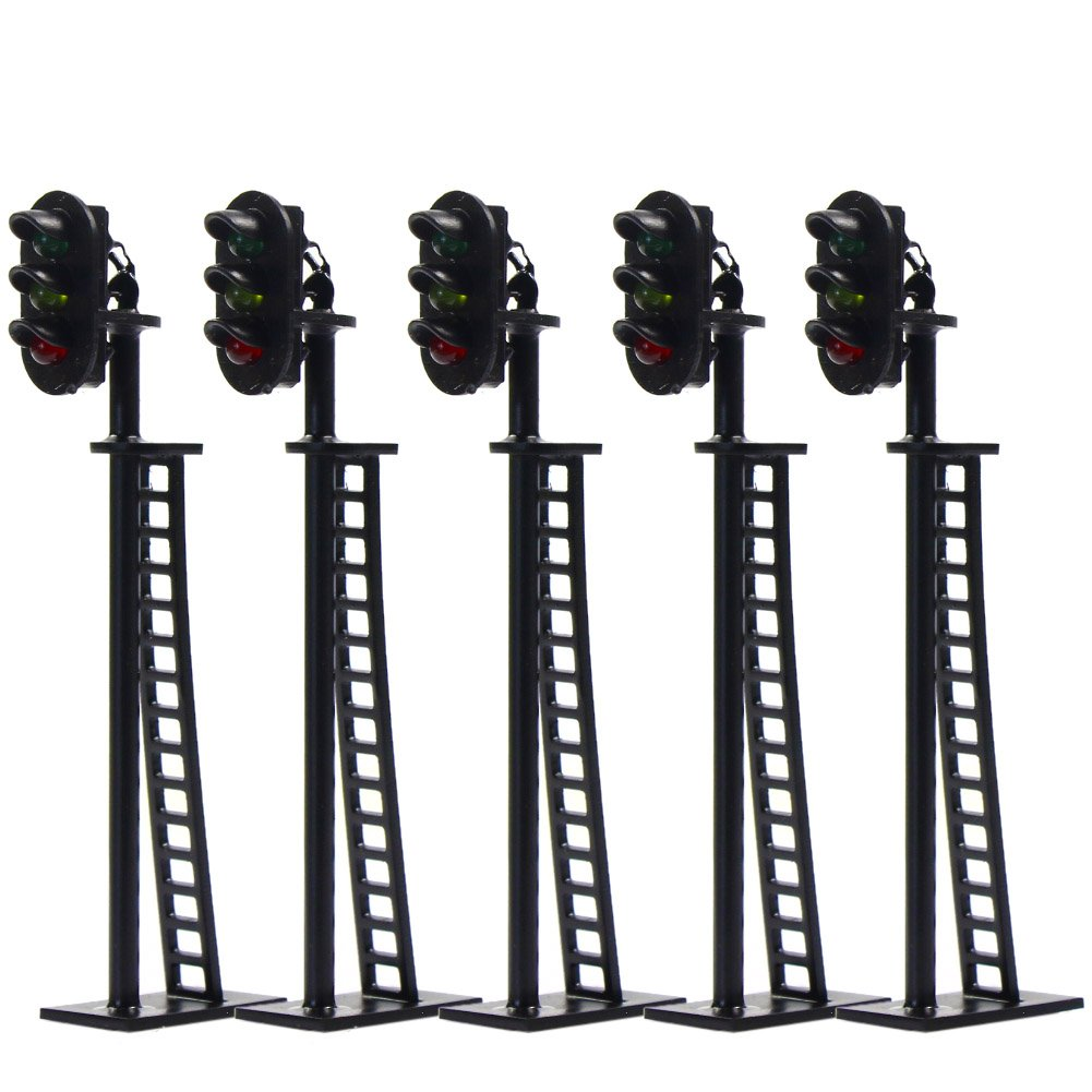 JTD04 5pcs Model Railway 3-Light Block Signals G/Y/R HO Scale 6.5cm 12V Led New